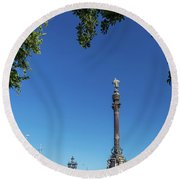 Famous Columbus Monument Landmark In Central Barcelona Spain Round Beach Towel