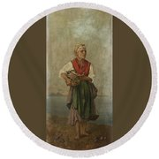Fish Seller With The Vesuvio In The Background Round Beach Towel