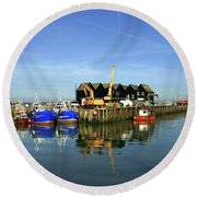 Fishing Boats At Whitstable Harbour 03 Round Beach Towel