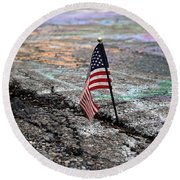 Flag In A Crack In The Pavement Round Beach Towel