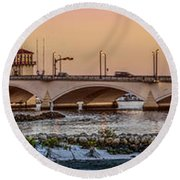 Flagler Bridge In Lights Panorama Round Beach Towel