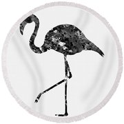 Flamingo-black Round Beach Towel