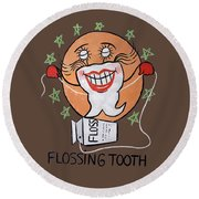 Flossing Tooth Round Beach Towel