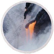 Flowing Pahoehoe Lava Round Beach Towel