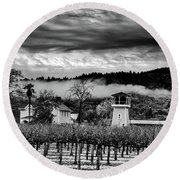 Fog Over The Vineyard Round Beach Towel