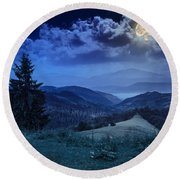 Forest On A Steep Mountain Slope Round Beach Towel