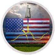 Fracking In The U.s Round Beach Towel