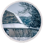 Fresh Snow Sits On The Ground Around An Old Barn Round Beach Towel