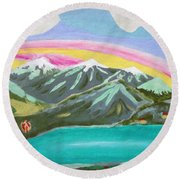 From The Mountains To The Sea Round Beach Towel