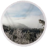 Frosty Pikes Peak Round Beach Towel