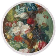 Fruit And Flowers In A Terracotta Vase Round Beach Towel