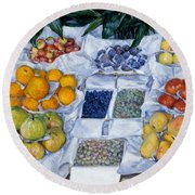 Fruit Displayed On A Stand Round Beach Towel