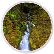 Streaming In The Olympic Rainforest Round Beach Towel