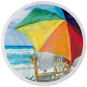 Beach Umbrella By Marilyn Nolan-johnson Round Beach Towel