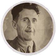George Orwell 2 Round Beach Towel