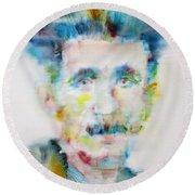 George Orwell - Watercolor Portrait Round Beach Towel