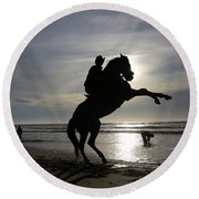 Horseback Riding Round Beach Towel
