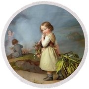 Girl On Her Way To Cooking Potatoes In The Fire Round Beach Towel