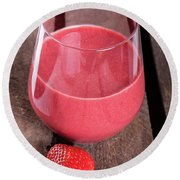 Glass With Strawberry Cocktail On Wooden Plank Round Beach Towel