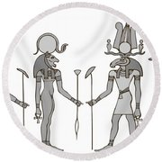 Gods Of Ancient Egypt Round Beach Towel