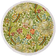 Golden Lily Round Beach Towel