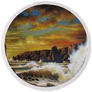 Golden Yellow Sunset Round Beach Towel