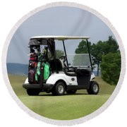 Golfing Golf Cart 04 Round Beach Towel