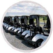 Golfing Golf Carts Round Beach Towel
