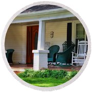 Grand Old House Porch Round Beach Towel