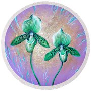 2 Green Orchids. Sunrise Round Beach Towel