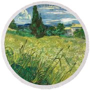 Green Wheat Field With Cypress Round Beach Towel