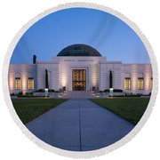 Griffith Observatory Round Beach Towel