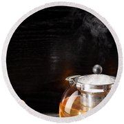 Gunpowder Green Tea In Glass Teapot Round Beach Towel