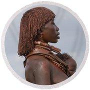 Hamer Tribe Woman, Ethiopia  Round Beach Towel