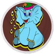 Happy Blue Elephant Round Beach Towel