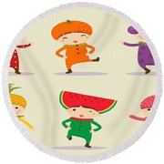 Happy Children  Round Beach Towel