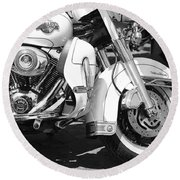 White Harley Davidson Bw Round Beach Towel by Stefano Senise