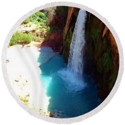 Havasu Falls Round Beach Towel