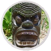 Hawaiian Tiki God Ku Round Beach Towel