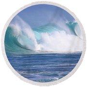 Hawaiian Winter Waves Round Beach Towel