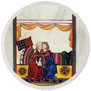 Heidelberg Lieder, 14th C Round Beach Towel
