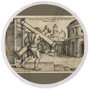 Hercules Carrying The Columns Of Gaza Round Beach Towel