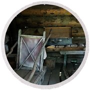 Historic Log Trappers Cabin Round Beach Towel