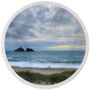 Holywell Bay Sunset Round Beach Towel