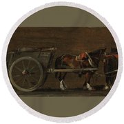 Horse And Cart Round Beach Towel