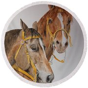 2 Horses Round Beach Towel