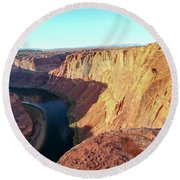Horseshoe Bend Colorado River Arizona Usa Round Beach Towel