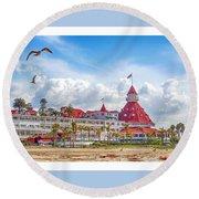 Hotel Del Coronado Round Beach Towel