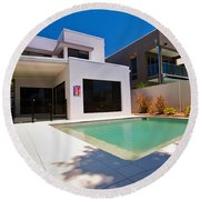 House And Pool Round Beach Towel