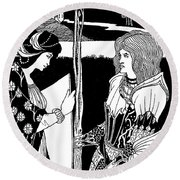 How Morgan Le Fay Gave A Shield To Sir Tristran Round Beach Towel